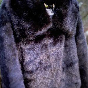 JLO Jennifer Lopez Faux - Fur Dark Brown Black Luxurious Coat